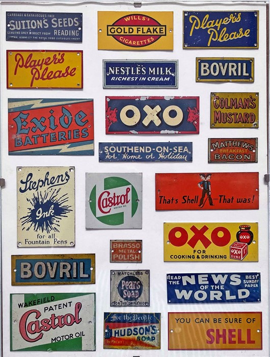 Quantity (22) of Bassett-Lowke miniature, tinplate ADVERTISING SIGNS. Many 'household' names