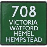 London Transport coach stop enamel E-PLATE for Green Line route 708 destinated Victoria, Watford,