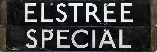 London Underground 1938-Tube Stock enamel CAB DESTINATION PLATE for Elstree / Special on the