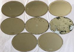Quantity (8) of RAILWAY CARRIAGE MIRRORS, 4 are marked 'LNER', 1 is 'BR' and 3 are 'BR(E)'. Oval-