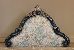An Italian 18th century and later gesso headboard, later painted, the shell crest extending to