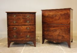 A George III mahogany commode chest on splayed bracket feet, 77cm H x 64cm W x 50cm D, along with