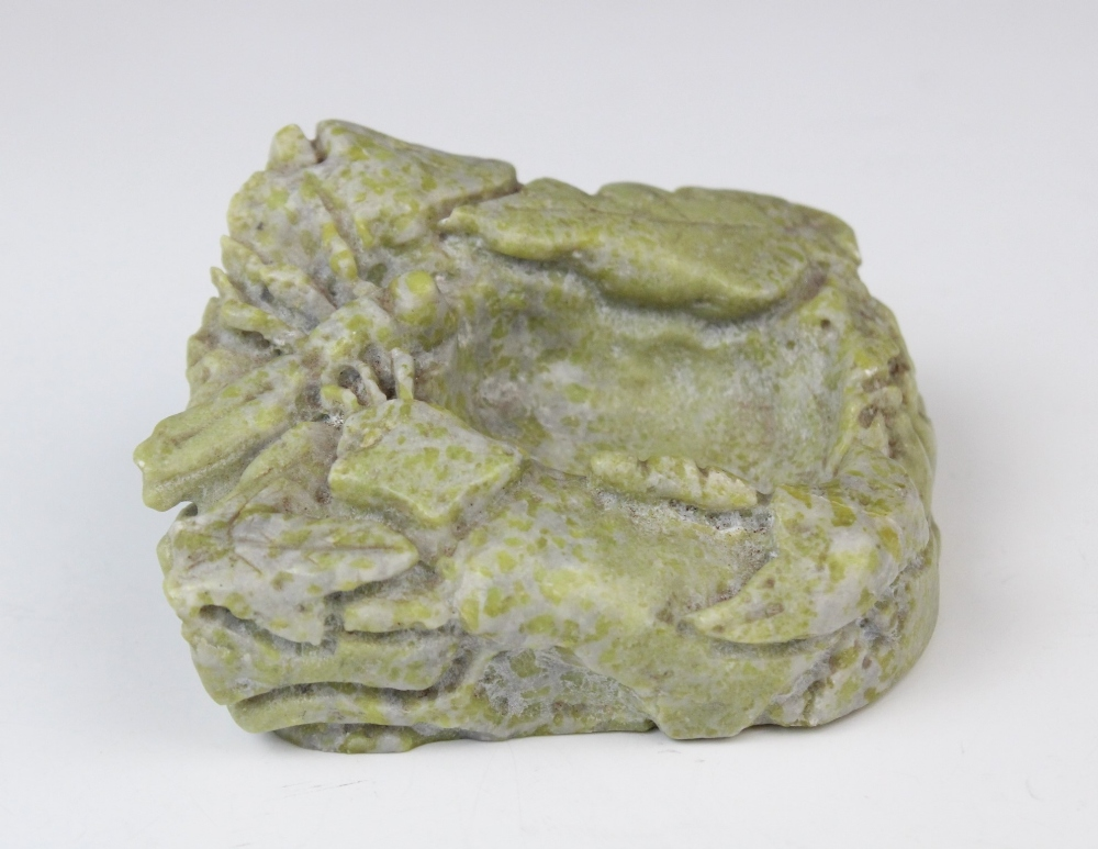 Two Chinese soapstone brush washer, 20th century, comprising; a black soapstone example carved - Image 2 of 3