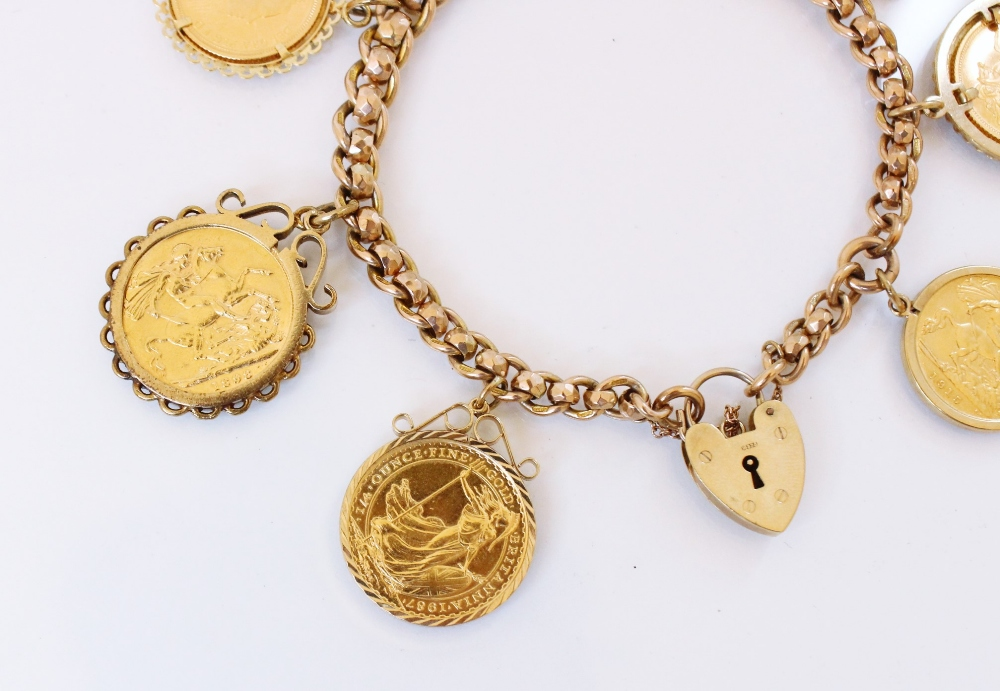 A 9ct gold curb link charm bracelet with a heart-shaped padlock fastener, 20cm long, suspending an - Image 2 of 20