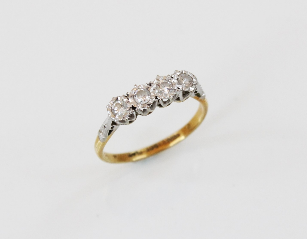 A diamond four-stone ring, comprising four round brilliant cut diamonds, (each weighing - Image 2 of 4