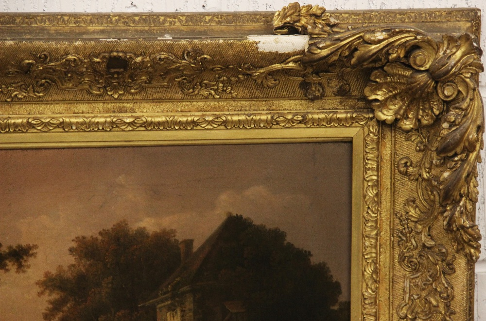 Manner of Richard Wilson RA (1714-1782), Wooded rural landscape with figures beside a cottage, Oil - Image 3 of 6