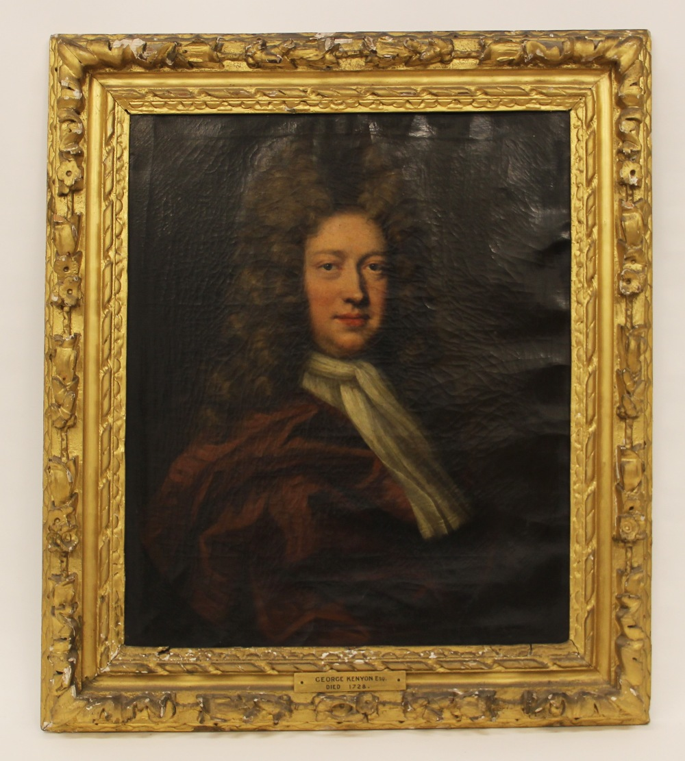 Circle of Michael Dahl (1659-1743), Portrait of George Kenyon half length wearing a red cloak and - Image 6 of 6
