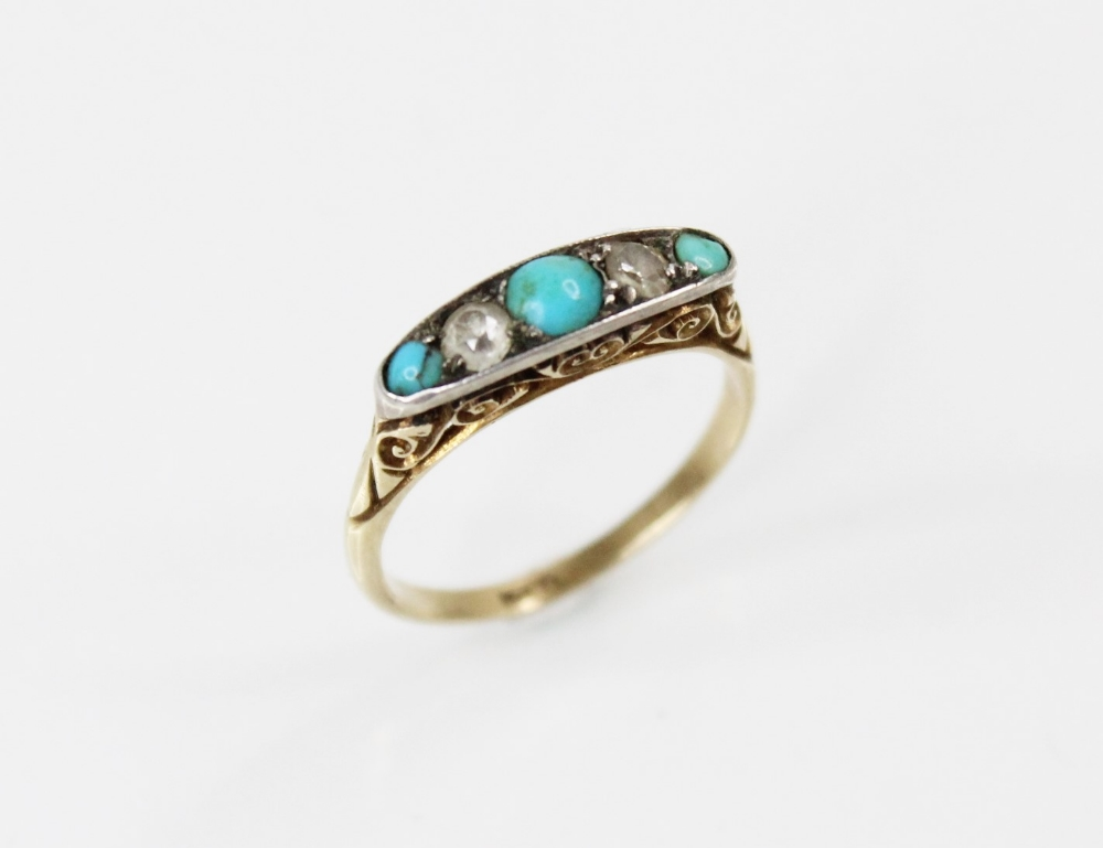 An early 20th century turquoise and diamond five stone ring, comprising three round turquoise - Image 4 of 5