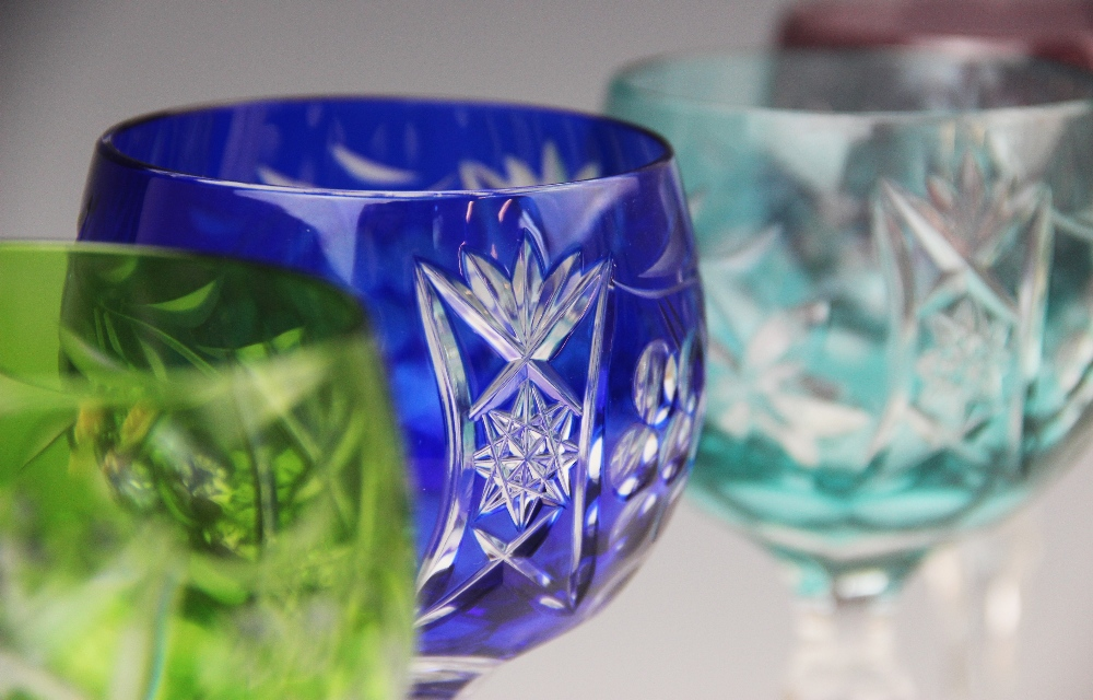 A set of six hock glasses, 20th century, each flashed with different coloured glass and cut with - Image 4 of 4