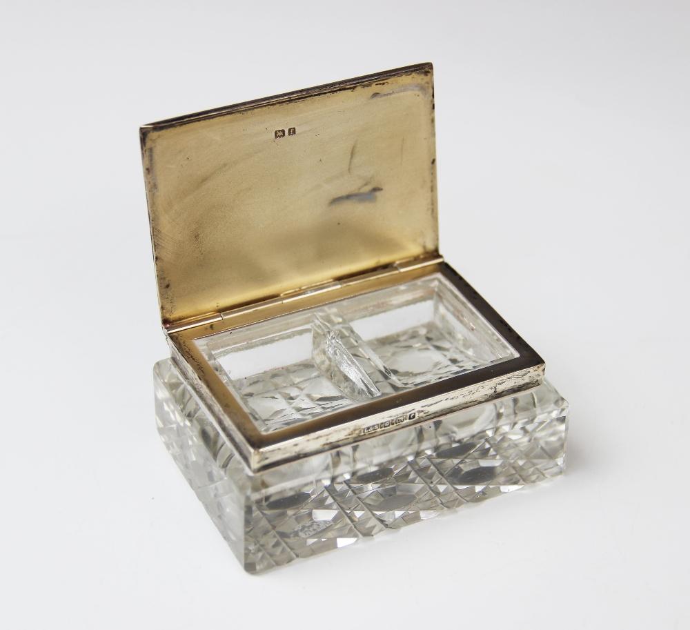 An Edwardian cut glass silver mounted stamp box by Levi & Salaman, Birmingham 1905, of rectangular - Image 2 of 3