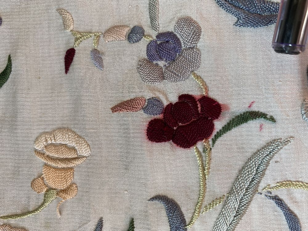 A Chinese polychrome florally decorated machine embroidered silk piano shawl, against a cream - Image 4 of 14