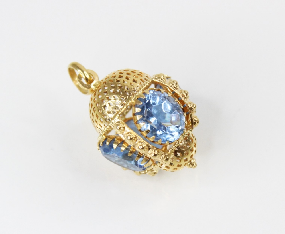 A Victorian style 18ct gold paste set fob charm, comprising four oval mixed cut blue paste, (each - Image 2 of 2