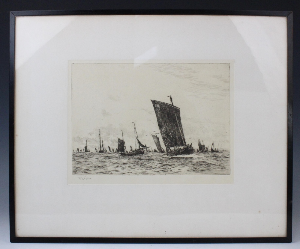 After William Lionel Wyllie RA (1851-1931), A fishing fleet at sea, Etching on paper, Signed lower - Image 4 of 5