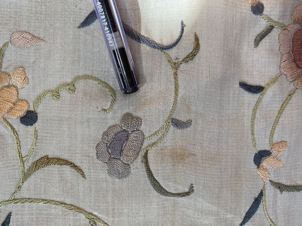 A Chinese polychrome florally decorated machine embroidered silk piano shawl, against a cream - Image 7 of 14
