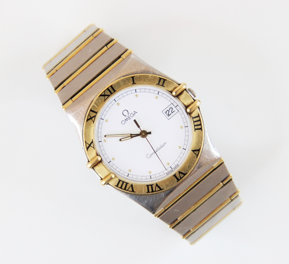 A Gentleman's Omega Constellation bi-colour stainless steel wristwatch, the white dial with gold- - Image 2 of 2