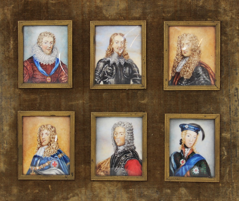 English School (19th century), a set of six portrait miniatures on ivory, depicting the male line of - Image 2 of 3
