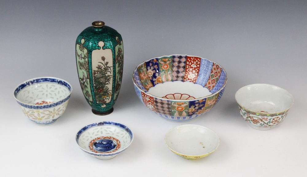 A selection of Asian works of art, 19th century and later, comprising; a Japanese cloisonné and