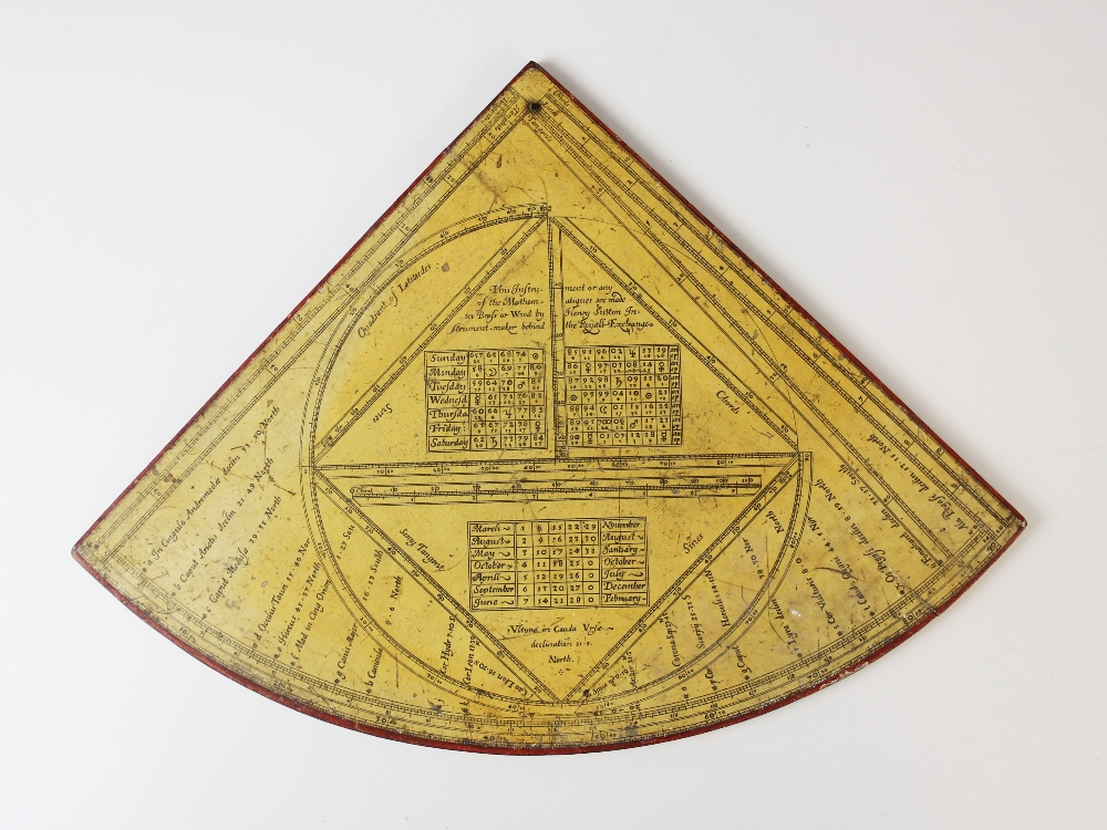 A rare Horary quadrant by 'Henricus Sutton Londini Fecit 1658 New Stile', paper laid onto wood - Image 2 of 4
