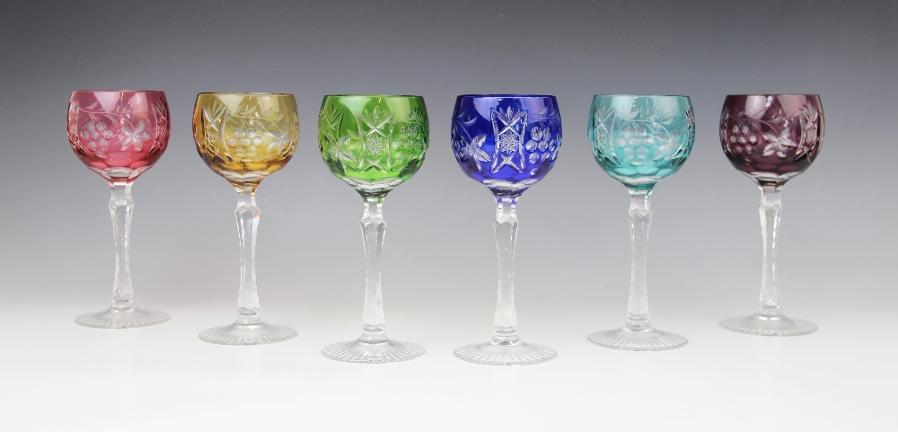 A set of six hock glasses, 20th century, each flashed with different coloured glass and cut with