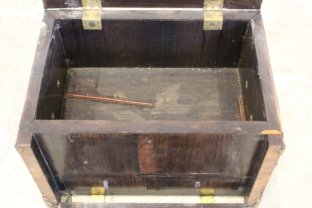 A late 17th century French kingwood strong box, applied with gilt metal corner mounts and side swing - Image 5 of 7