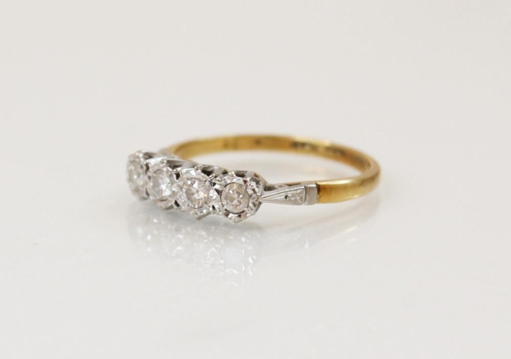 A diamond four-stone ring, comprising four round brilliant cut diamonds, (each weighing - Image 4 of 4