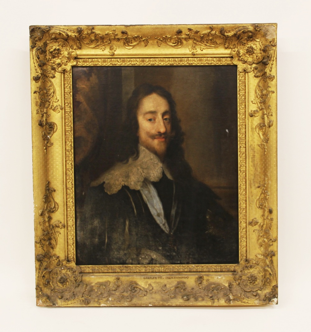 Follower of Sir Antony Van Dyck (1599-1641), Portrait of Charles I, Head and shoulders, with lace - Image 5 of 22