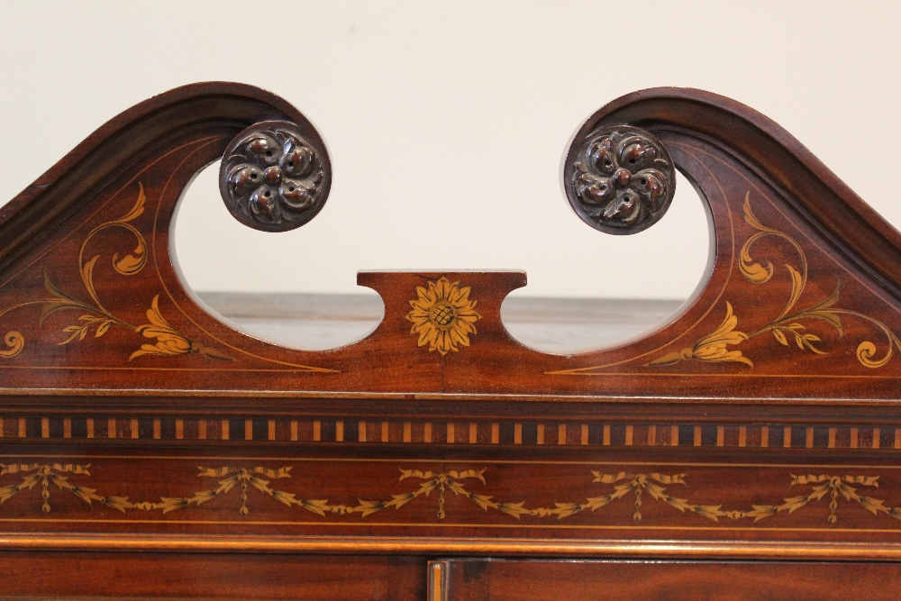 An Edwardian Sheraton revival mahogany display cabinet, by 'Old Time Furnishing Co, Westminster', - Image 2 of 3