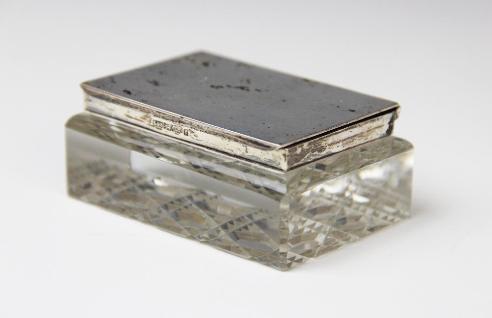 An Edwardian cut glass silver mounted stamp box by Levi & Salaman, Birmingham 1905, of rectangular