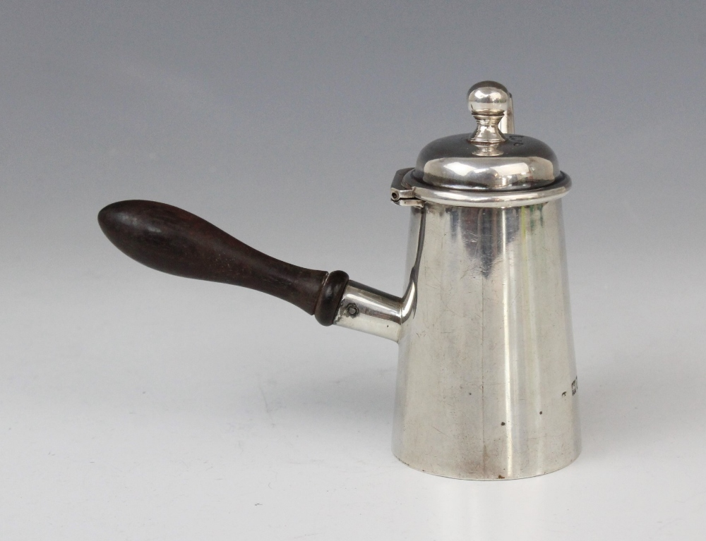 An Edwardian miniature silver chocolate pot, marks for Joseph Braham, London 1905, of typical form - Image 3 of 4