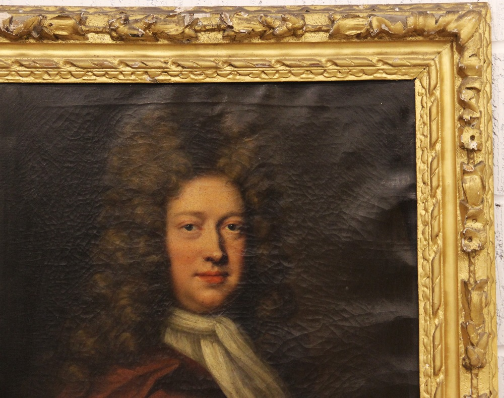 Circle of Michael Dahl (1659-1743), Portrait of George Kenyon half length wearing a red cloak and - Image 4 of 6