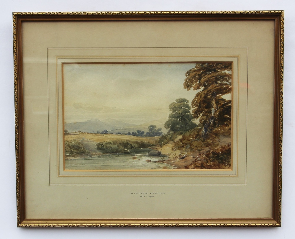 William Callow RWS (1812-1908), View of a rural stream with hills beyond, Watercolour, Signed - Image 2 of 8