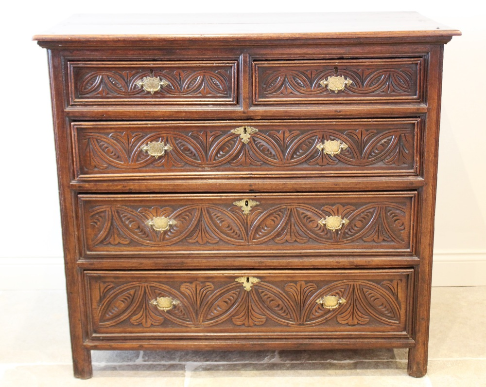 A 17th century and later oak chest of drawers, the twin plank top over an arrangement of two short - Image 3 of 4