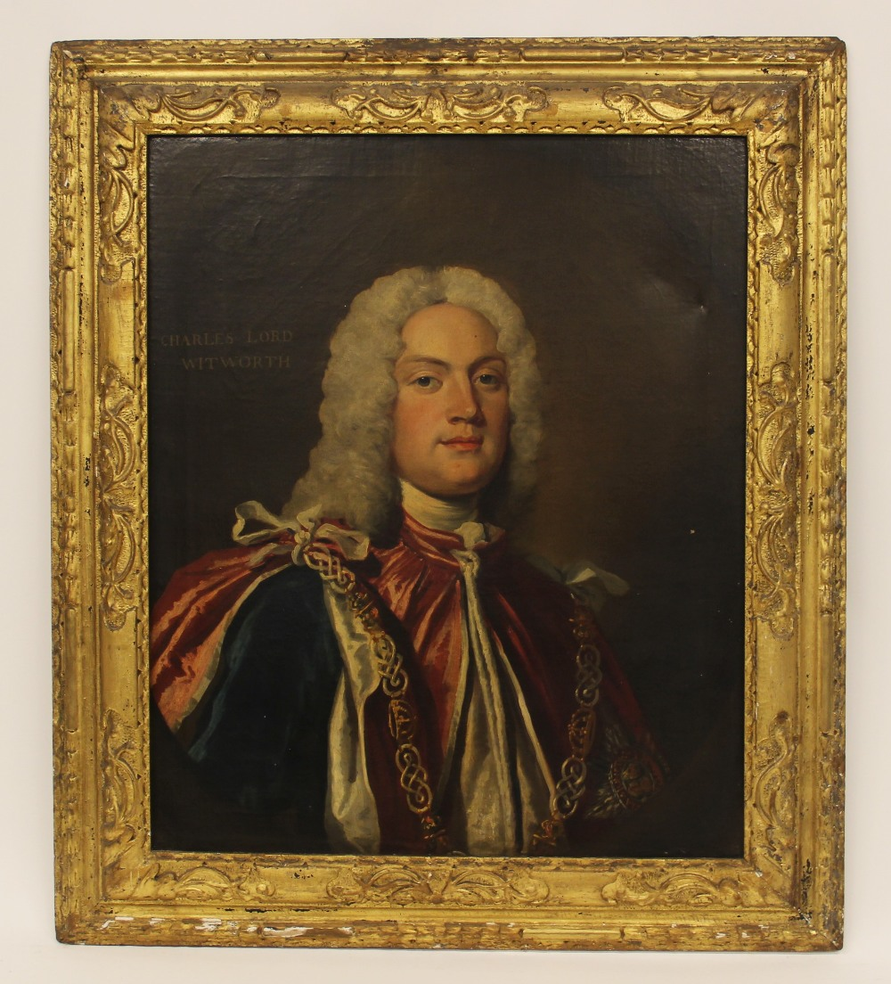 English school, early 18th century, Portrait of Charles Lord Witworth, Head and shoulders wearing - Image 5 of 5