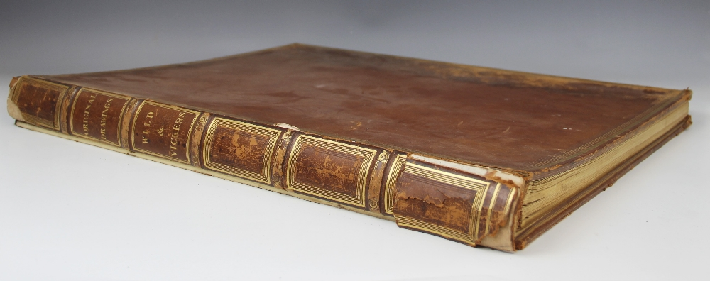 English school (19th century), A bound portfolio of architectural sketches and watercolours, to
