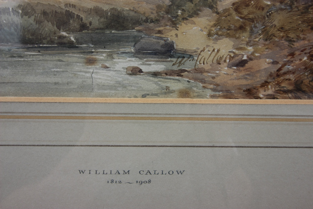 William Callow RWS (1812-1908), View of a rural stream with hills beyond, Watercolour, Signed - Image 3 of 8