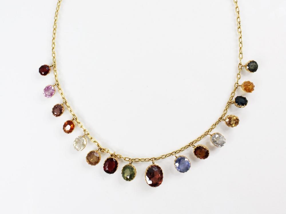 An Edwardian multi gem set fringe necklace, comprising sixteen graduated oval gemstones, including - Image 3 of 6