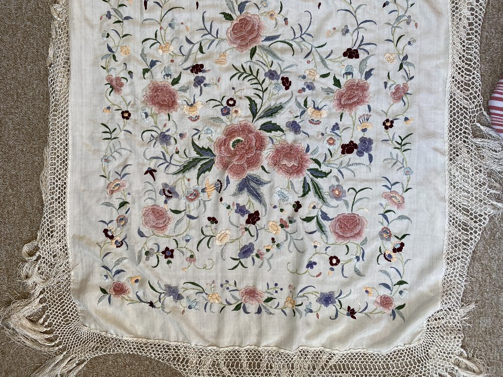A Chinese polychrome florally decorated machine embroidered silk piano shawl, against a cream - Image 11 of 14