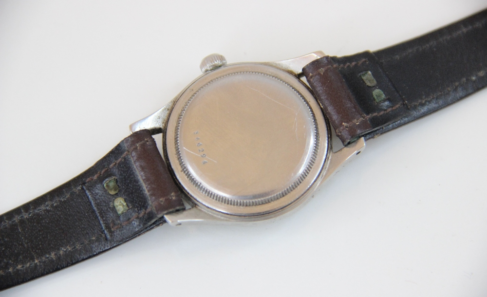 A Gentleman's vintage Tudor Oyster 'Shock Resisting' wristwatch, the round gold-toned dial with - Image 4 of 5
