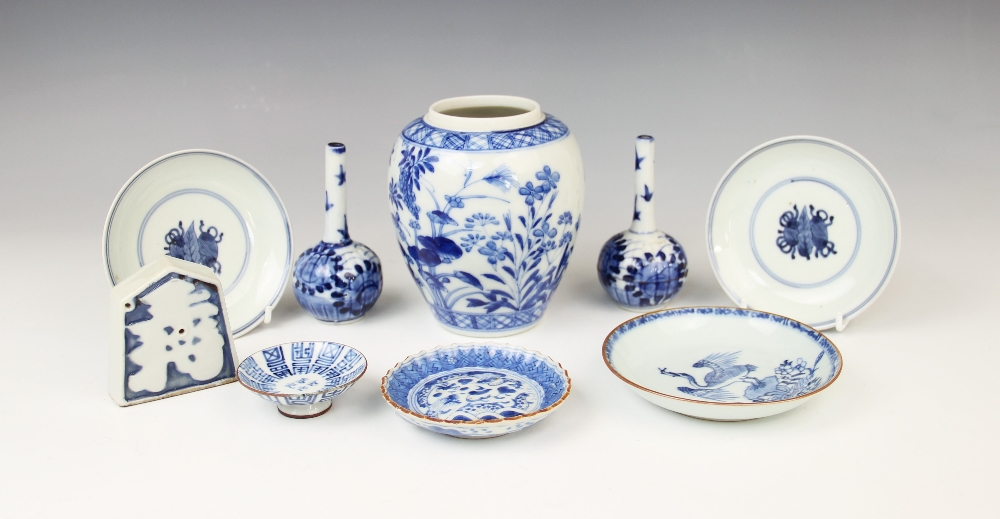 A collection of 18th century and later Chinese blue and white porcelain, to include a pair of tea