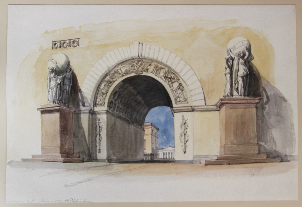 English school (19th century), A bound portfolio of architectural sketches and watercolours, to - Image 7 of 7