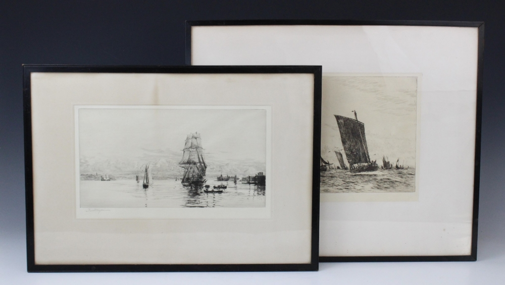After William Lionel Wyllie RA (1851-1931), A fishing fleet at sea, Etching on paper, Signed lower