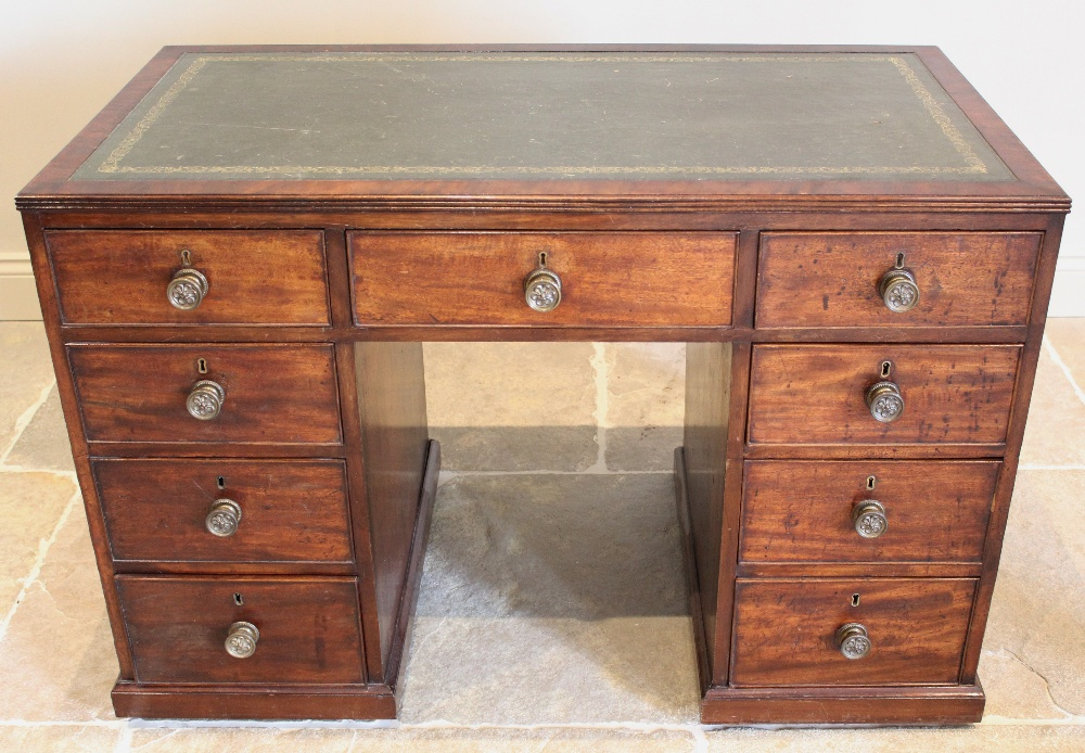 A 19th century mahogany faux partners desk, the rectangular top with an inset gilt tooled green - Image 2 of 2