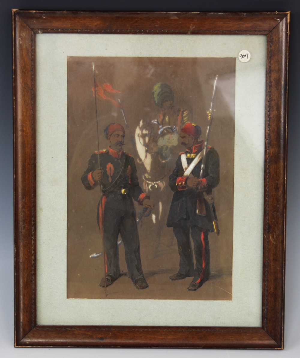 Anglo-Indian school (19th century), Two soldiers before another on horseback, Watercolour on