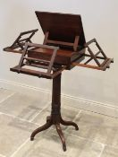 A George III mahogany pedestal quartet music stand, in the manner of Gillows, the rectangular
