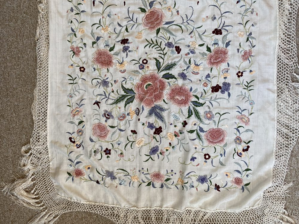 A Chinese polychrome florally decorated machine embroidered silk piano shawl, against a cream - Image 12 of 14