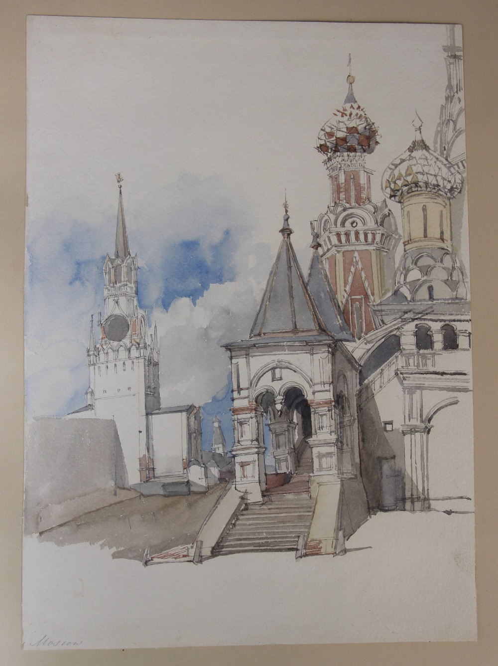 English school (19th century), A bound portfolio of architectural sketches and watercolours, to - Image 6 of 7
