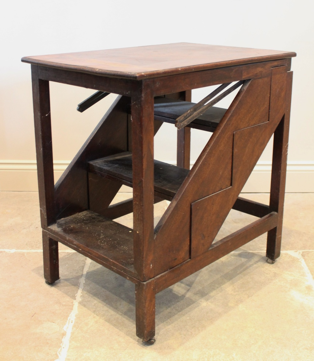 A 19th century mahogany metamorphic table/library steps, the rectangular moulded top on plain legs