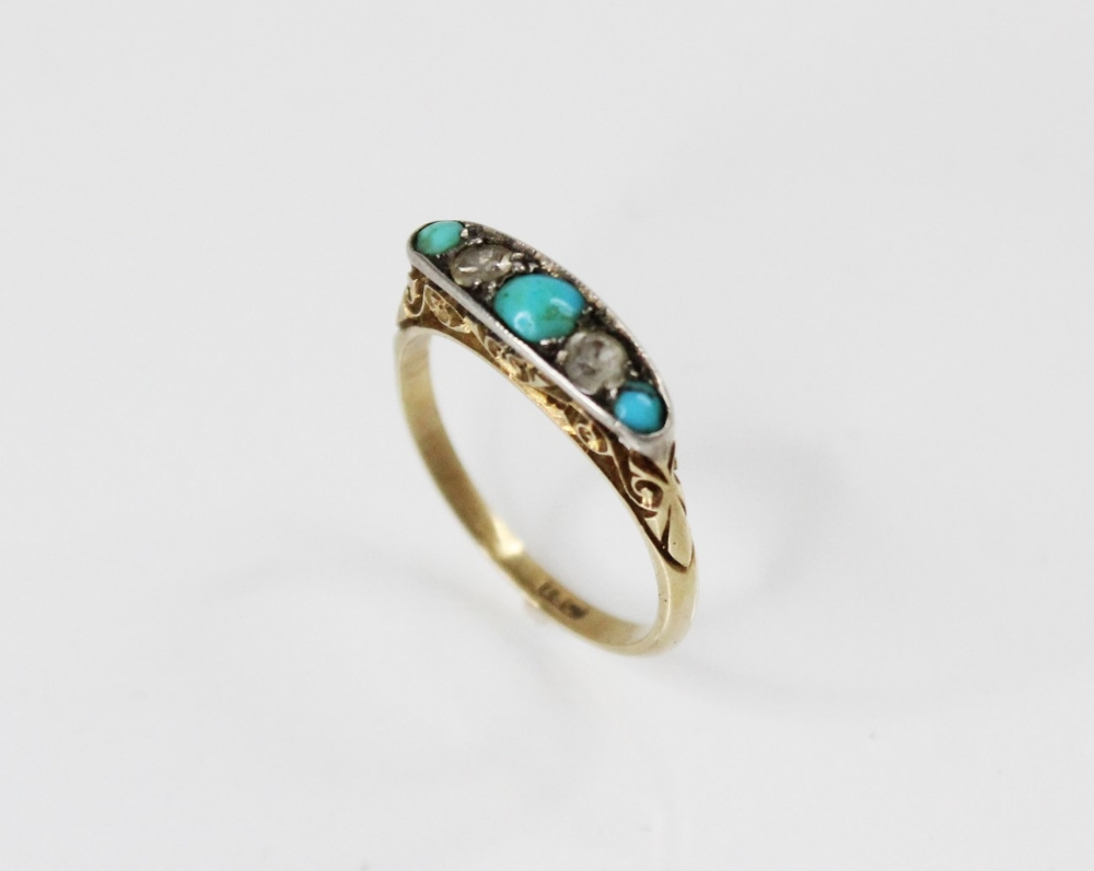 An early 20th century turquoise and diamond five stone ring, comprising three round turquoise