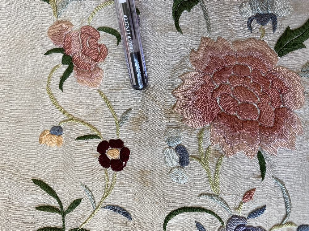 A Chinese polychrome florally decorated machine embroidered silk piano shawl, against a cream - Image 9 of 14