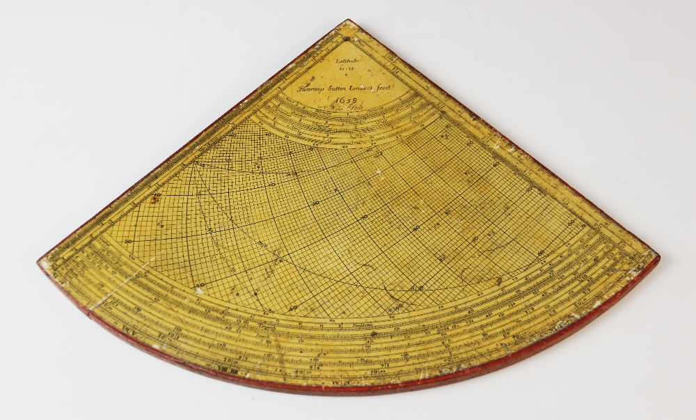 A rare Horary quadrant by 'Henricus Sutton Londini Fecit 1658 New Stile', paper laid onto wood
